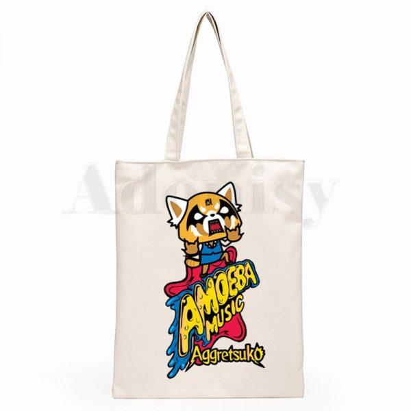 Aggretsuko Aggressive Retsuko Death Metal Graphic Cartoon Print Shopping Bags Girls Fashion Casual Pacakge Hand Bag 1 - Aggretsuko Merch