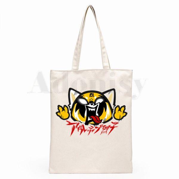 Aggretsuko Aggressive Retsuko Death Metal Graphic Cartoon Print Shopping Bags Girls Fashion Casual Pacakge Hand Bag 2 - Aggretsuko Merch