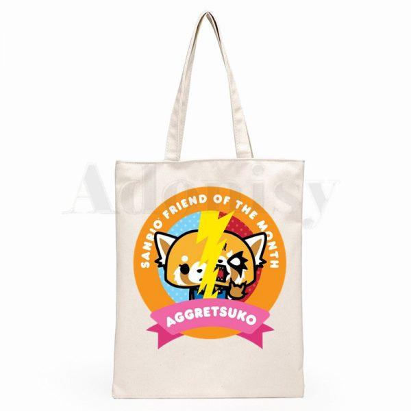 Aggretsuko Aggressive Retsuko Death Metal Graphic Cartoon Print Shopping Bags Girls Fashion Casual Pacakge Hand Bag 3 - Aggretsuko Merch