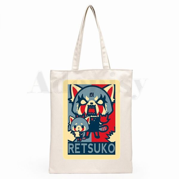 Aggretsuko Aggressive Retsuko Death Metal Graphic Cartoon Print Shopping Bags Girls Fashion Casual Pacakge Hand Bag 4 - Aggretsuko Merch