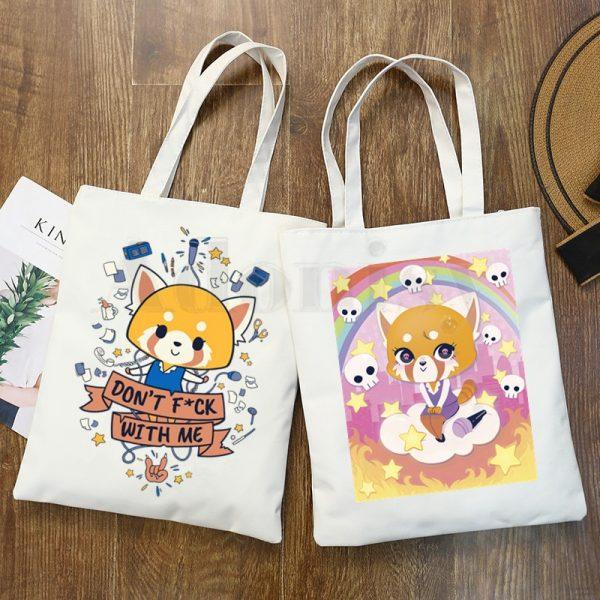Aggretsuko Aggressive Retsuko Death Metal Graphic Cartoon Print Shopping Bags Girls Fashion Casual Pacakge Hand Bag - Aggretsuko Merch
