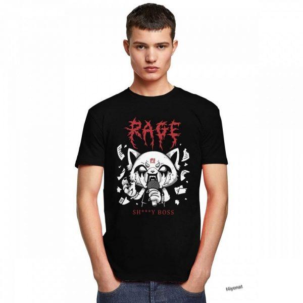 Funny Men T Shirt Aggretsuko Aggressive Retsuko Karaoke Rage Mood Short Sleeve Pure Cotton T shirt 4 - Aggretsuko Merch