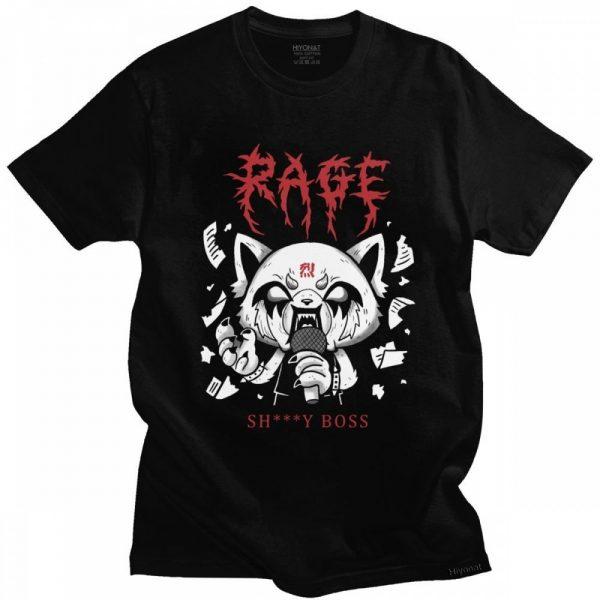 Funny Men T Shirt Aggretsuko Aggressive Retsuko Karaoke Rage Mood Short Sleeve Pure Cotton T shirt - Aggretsuko Merch