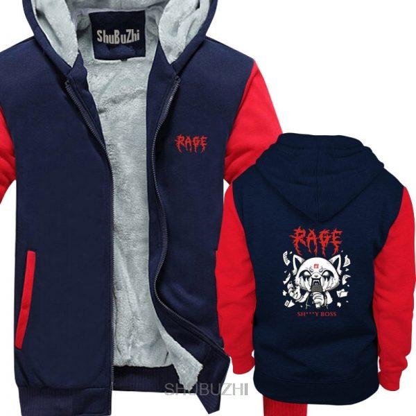 Men Aggretsuko Aggressive Retsuko Karaoke Rage Mood hoody Pure casual Tops Unique hoody warm coat Plus - Aggretsuko Merch