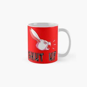 """Shut Up"" White Rabbit Scream - White on Bright Red Classic Mug RB2204product Offical Aggretsuko Merch"