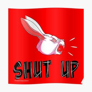 """""""Shut Up"""" White Rabbit Scream - White on Bright Red Poster RB2204product Offical Aggretsuko Merch"""
