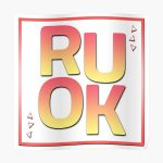 R U OK? fitted t-shirt and sticker red color Poster RB2204product Offical Aggretsuko Merch