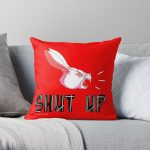 """""""Shut Up"""" White Rabbit Scream - White on Bright Red Throw Pillow RB2204product Offical Aggretsuko Merch"""